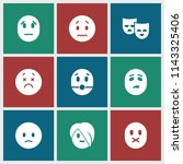 sad icon. collection of 9 sad... | Shutterstock .eps vector #1143325406