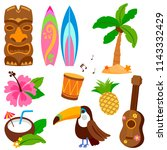 hawaiian vector collection of... | Shutterstock .eps vector #1143332429