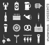beer icons set white isolated... | Shutterstock . vector #1143333473