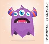 angry purple cartoon monster... | Shutterstock .eps vector #1143350150