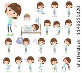 a set of women with injury and... | Shutterstock .eps vector #1143351320