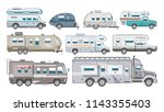 caravan vector rv camping... | Shutterstock .eps vector #1143355403
