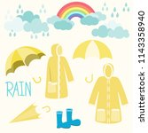 rainbow and raincoat with...   Shutterstock .eps vector #1143358940
