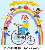 clowns and children | Shutterstock .eps vector #1143361079