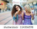 two teen woman friends having... | Shutterstock . vector #114336598