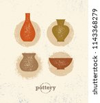 handmade clay pottery workshop. ... | Shutterstock .eps vector #1143368279