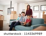 portrait of happy family... | Shutterstock . vector #1143369989