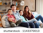 portrait of happy family... | Shutterstock . vector #1143370013