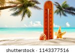 beach background with two palms ... | Shutterstock . vector #1143377516