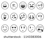 smiley emoji faces outline icons | Shutterstock .eps vector #1143383006