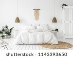 scandi boho style bedroom  3d... | Shutterstock . vector #1143393650