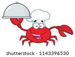 crab chef cartoon mascot... | Shutterstock . vector #1143396530