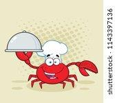 crab chef cartoon mascot... | Shutterstock . vector #1143397136
