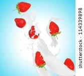 strawberries in milk splash   Shutterstock . vector #114339898