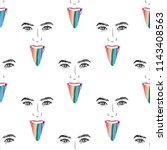 hand drawn pattern with lgbt... | Shutterstock .eps vector #1143408563