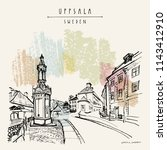 uppsala  sweden  europe. old... | Shutterstock .eps vector #1143412910