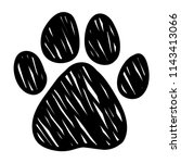 doodle dog paw pattern... | Shutterstock . vector #1143413066