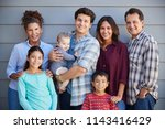 portrait of multi generation... | Shutterstock . vector #1143416429