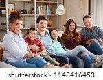 portrait of multi generation... | Shutterstock . vector #1143416453