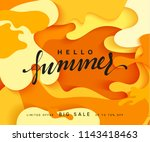 hello summer banner. melted 3d... | Shutterstock . vector #1143418463