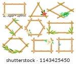wooden frame made of bamboo... | Shutterstock .eps vector #1143425450