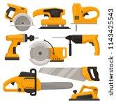 flat vector set of construction ... | Shutterstock .eps vector #1143425543