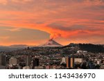 eruption of the cotopaxi... | Shutterstock . vector #1143436970
