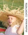 little girl blonde in pink... | Shutterstock . vector #1143474056