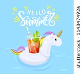 hello summer hand written... | Shutterstock .eps vector #1143474926