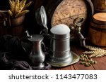 light foam beer in a glass on...   Shutterstock . vector #1143477083