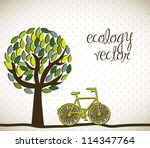 cute tree with bike  ecology.... | Shutterstock .eps vector #114347764