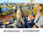 cute little girls enjoying a...   Shutterstock . vector #1143484169