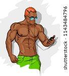 muscle man silhouette graffiti...   Shutterstock . vector #1143484796