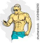 muscle man silhouette graffiti... | Shutterstock . vector #1143486050