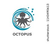 icon of octopus with water... | Shutterstock .eps vector #1143490613
