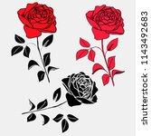set of roses on a light... | Shutterstock .eps vector #1143492683