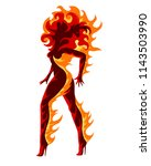 woman silhouette in flame.... | Shutterstock .eps vector #1143503990