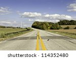 American country road in late fall afternoon - stock photo