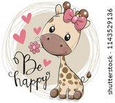 greeting card cute cartoon... | Shutterstock .eps vector #1143529136