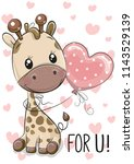 cute cartoon giraffe with... | Shutterstock .eps vector #1143529139