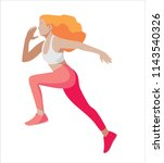 running girl with curly red hair | Shutterstock .eps vector #1143540326
