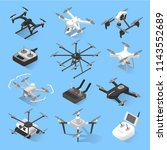 drones isometric icon set.... | Shutterstock .eps vector #1143552689