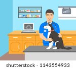 young man veterinarian doctor... | Shutterstock .eps vector #1143554933