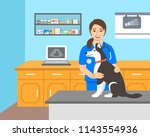 young woman veterinarian doctor ... | Shutterstock .eps vector #1143554936