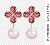 pearl ruby earrings mockup.... | Shutterstock .eps vector #1143557459