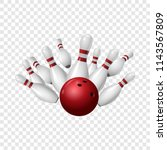 Bowling strike icon. Realistic illustration of bowling strike vector icon for on transparent background