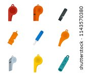 whistle coaching blow icons set.... | Shutterstock .eps vector #1143570380