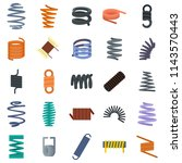 coil spring cable icons set.... | Shutterstock .eps vector #1143570443