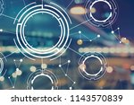 tech circle with blurred city...   Shutterstock . vector #1143570839
