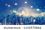 cyber security with aerial view ...   Shutterstock . vector #1143570866